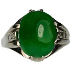 No Treatment GIA Certified Jadeite Jade Diamond Platinum Ring