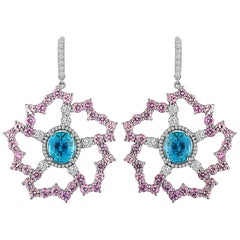 Fabulous Blue Zircon, Pink Sapphires, Diamond Earrings in 18 Karat Gold