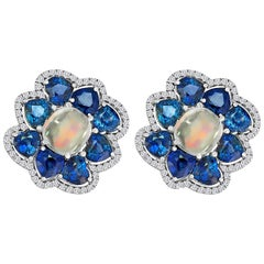 Extraordinary Rainbow Moonstone, Sapphires, Diamond Earrings in 18 Karat Gold