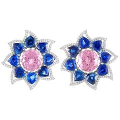 Extraordinary Pink Tourmaline, Blue Sapphires, Diamond Earrings