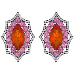 Exceptional Mexican Opal Purple Sapphires Diamond Gold Earrings