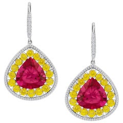 Fabulous Rubelite, Yellow Sapphires and Diamond Earrings