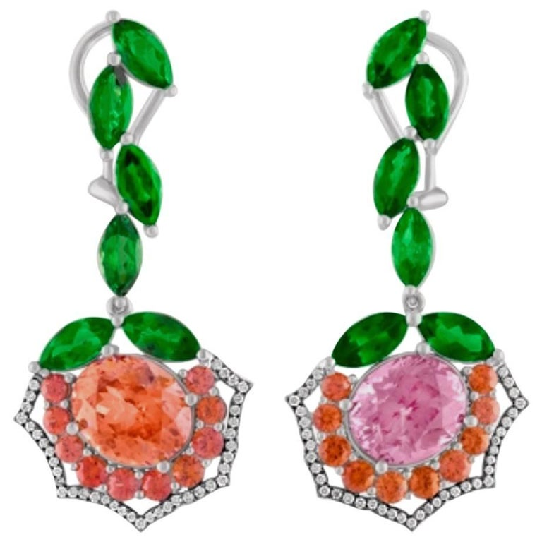 Malaya Garnet  Tsavorite and Orange Sapphire Earrings For Sale