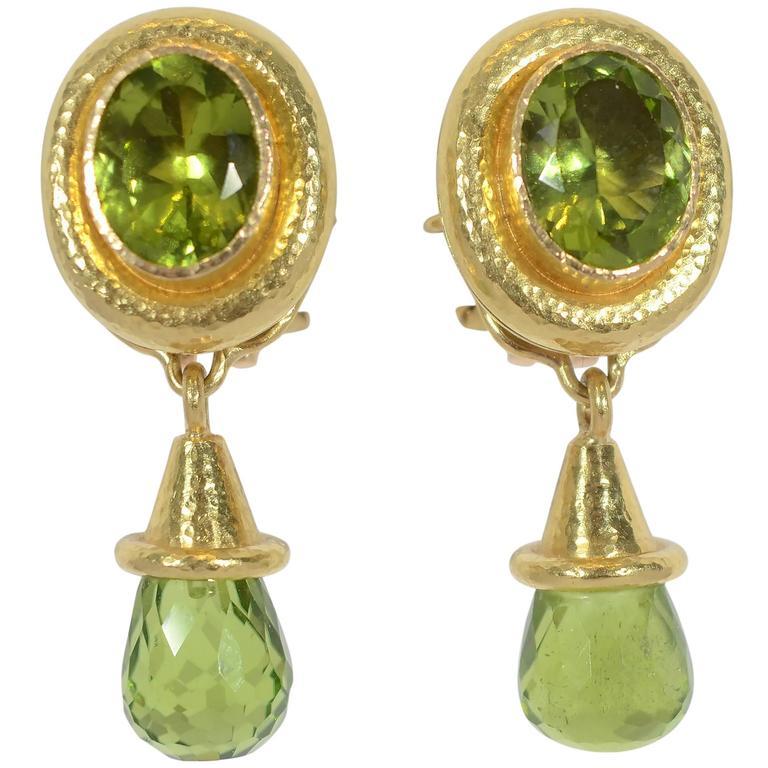 Elizabeth Locke Peridot gold Earrings