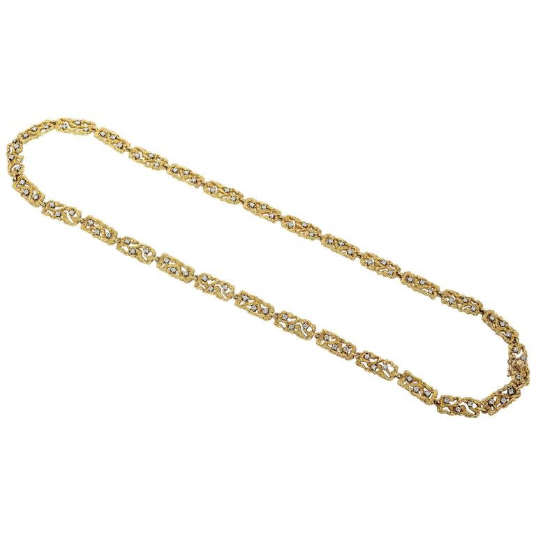 Boris Le Beau Gold Chain Necklace with Diamonds