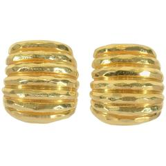 Henry Dunay Gold Ribbed Earrings