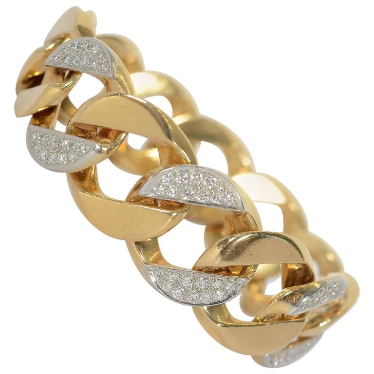 Tiffany & Co. Diamond Gold Curb Chain Link Bracelet
