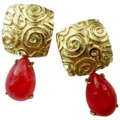 Michael Kneebone Petroglyph Rhodochrosite Gold Dangle Earrings