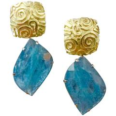 Michael Kneebone Aquamarine Slice Gold Petroglyph Dangle Earrings