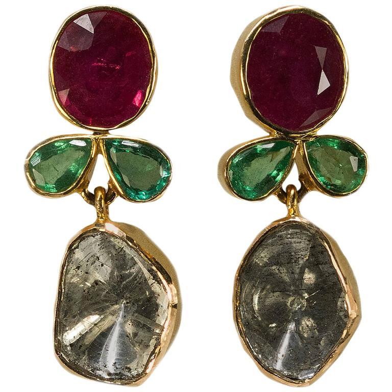 Ruby Emerald Diamond Gold Earrings