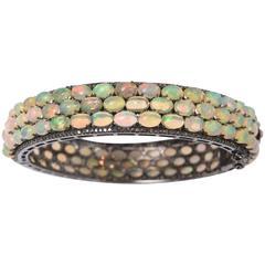 Fiery Opals and Diamonds Bracelet