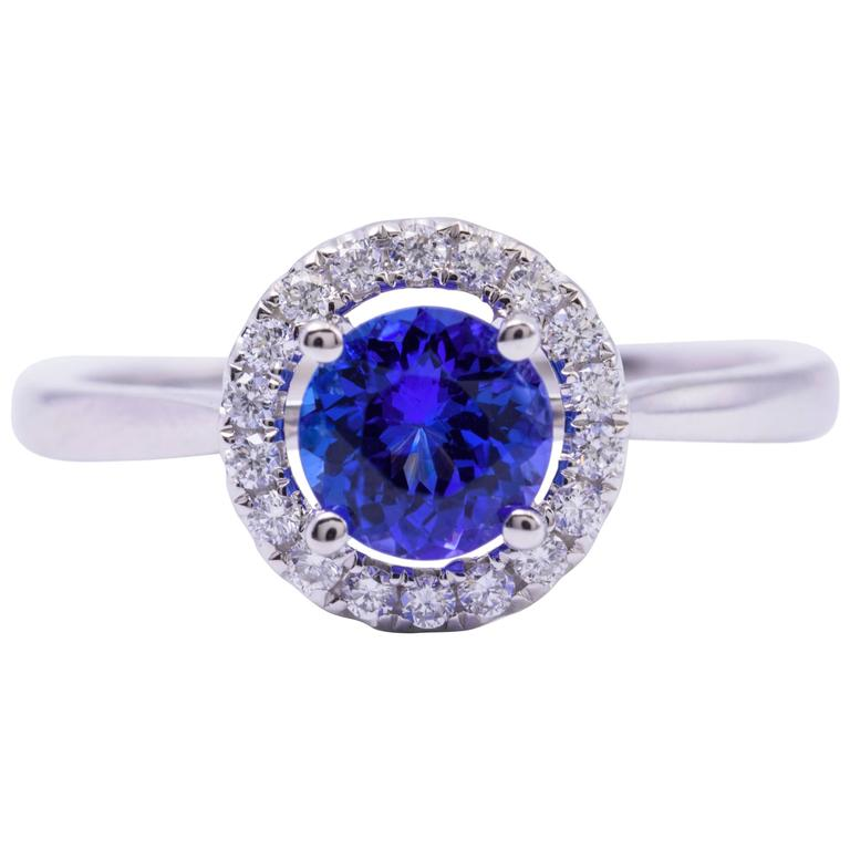 Tanzanite Diamond White Gold Engagement Halo Ring 1