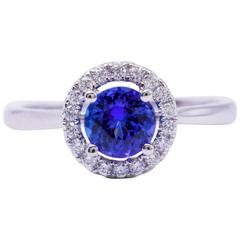 Tanzanite Diamond White Gold Engagement Halo Ring