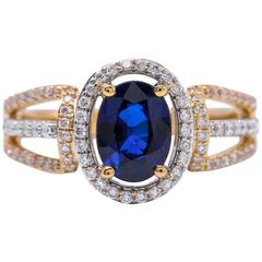 Sapphire Diamond Halo Two Color Gold Engagement Cocktail Ring