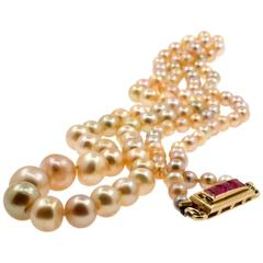 Early 20th Century Certified Natural Saltwater Pearl and Ruby Necklace