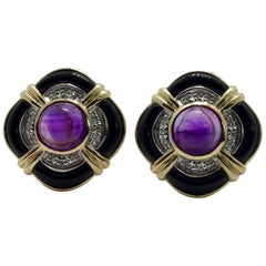 Amethyst Onyx Diamond Earrings