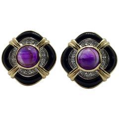 Amethyst Onyx Diamond Earrings