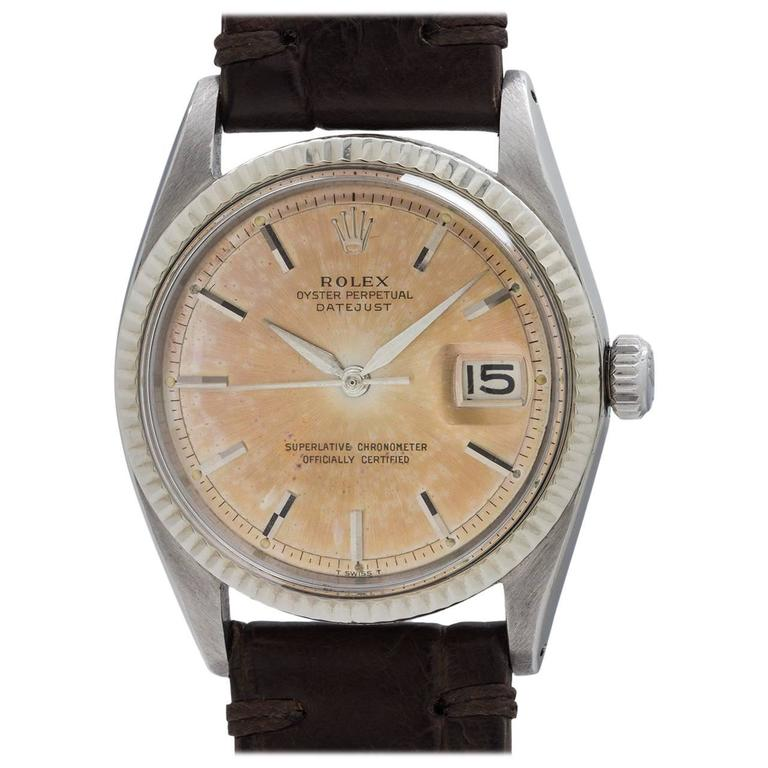 Rolex Stainless Steel Datejust automatic Tropical Peach Wristwatch, circa 1963