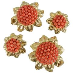 1950s Coral Gold Bead Flower Dress Clips and Earrings Set