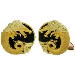 Carrera Y Carrera Black Onyx Yellow Gold Dragon Cufflinks