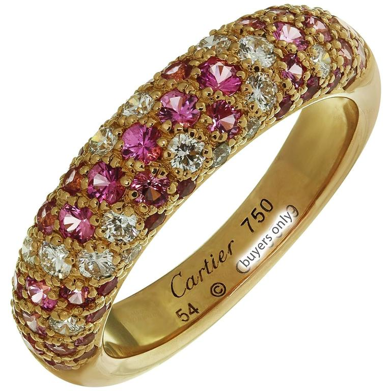étincelle de Cartier Diamond Pink Sapphire Rose Gold Band Ring at