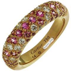 Étincelle de Cartier Diamond Pink Sapphire Rose Gold Band Ring