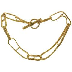 Hermes Ribbon Mesh Anchor Chain Yellow Gold Necklace