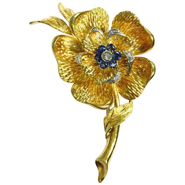 Italian Sapphire Diamond Gold Large Flower Brooch For Sale