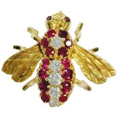 Herbert Rosenthal Ruby Diamond Gold Bee Pin