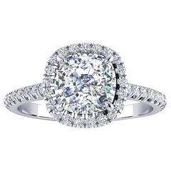 Ferrucci GIA Certified 2.03 Carat Cushion Cut Diamond F Color Engagement Ring