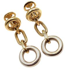 Pomellato Drop Link Yellow and White Gold Earrings