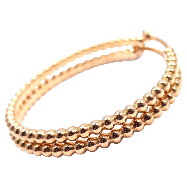 Van Cleef Arpels Perlee Rose Gold Hoop Earrings For