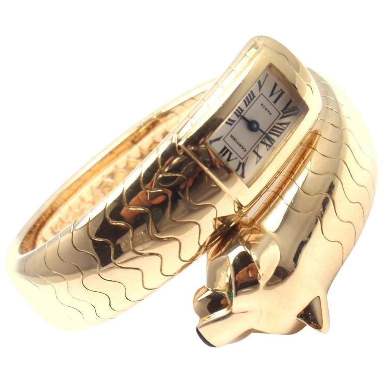 Cartier Yellow Gold Emerald Panther Panthere Bangle quartz Wristwatch