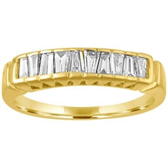 0.70 Carat Diamond Tapered Baguettes Gold Half Band Ring