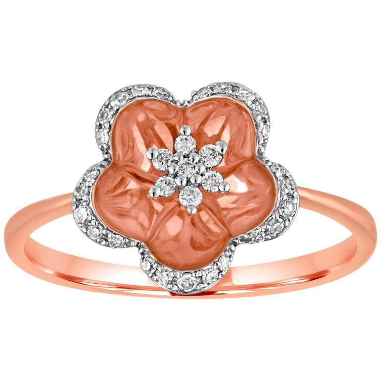 0.12 Carats Diamond and Rose Gold Flower Ring