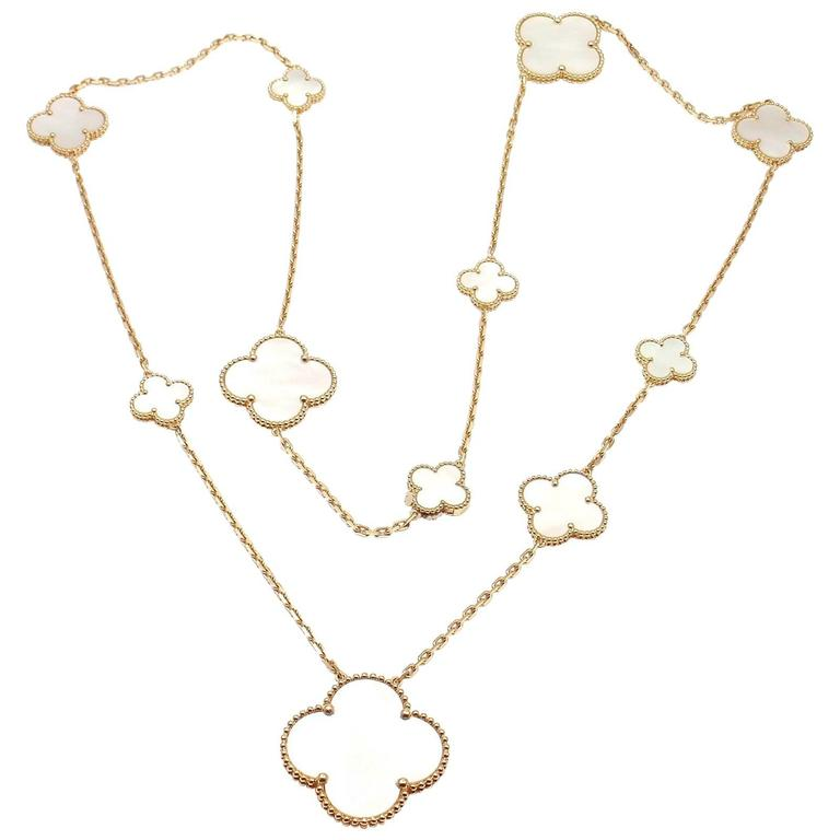 Van Cleef & Arpels Magic Alhambra 11 Motifs Mother-of-Pearl Yellow Gold Necklace
