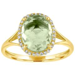 Oval Cut 2.73 Carats Green Amethyst and Diamond Halo Gold Ring