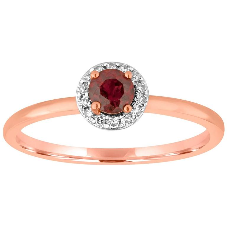 Stackable 0.36 Carats Garnet and Diamond Halo Gold Ring