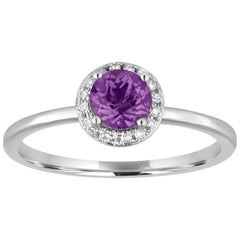 Stackable 0.46 Carats Amethyst and Diamond Halo Gold Ring