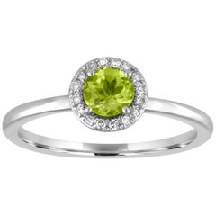 Stackable 0.57 Carat Peridot and Diamond Halo Gold Ring