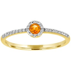 Stackable 0.12 Carats Citrine and Diamond Halo Gold Ring