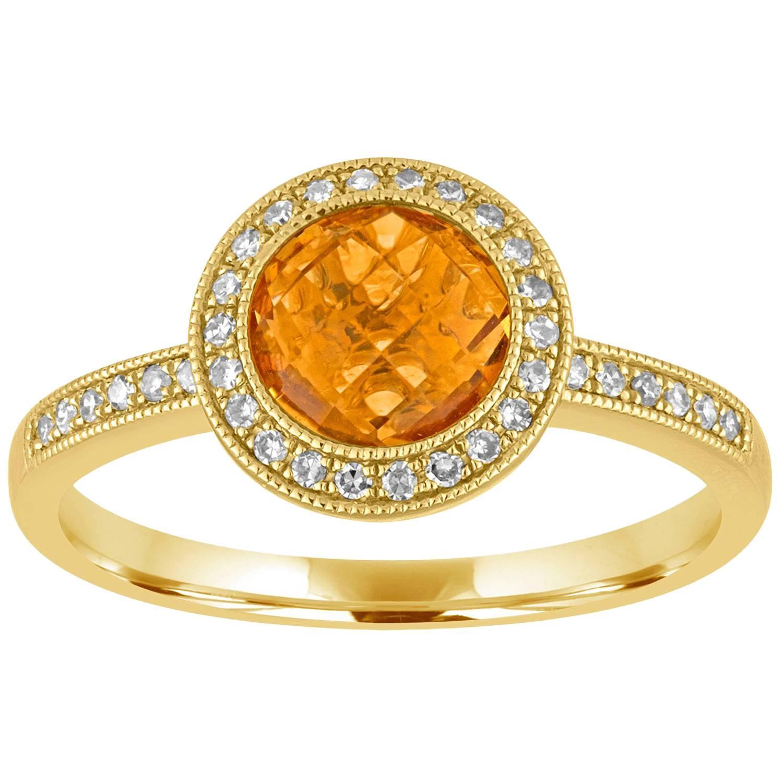 Round 1.38 Carat Citrine and Diamond Halo Milgrain Gold Ring