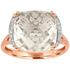 Cushion Cut 7.56 Carats White Topaz and Diamond Gold Ring