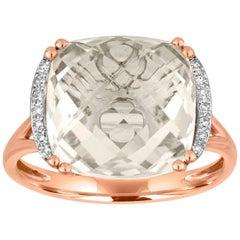 Cushion Cut 7.56 Carats White Topaz and Diamond Gold Ring