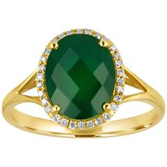Oval Cut 2.69 Carats Green Agate and Diamond Halo Gold Ring