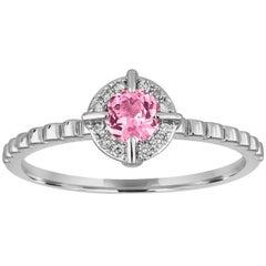 Stackable 0.32 Carats Pink Corundum and Diamond Halo Gold Ring
