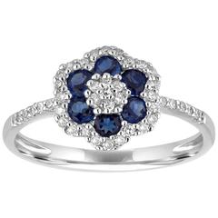 0.76 Carats Diamond and Blue Corundum Gold Flower Ring