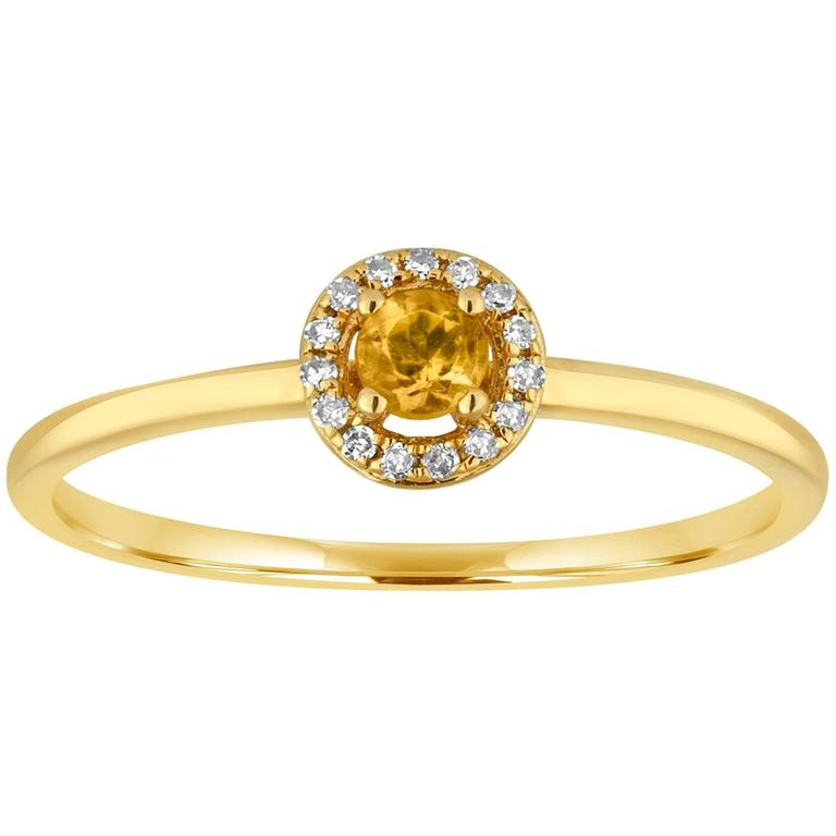 Stackable 0.12 Carat Citrine and Diamond Halo Gold Ring