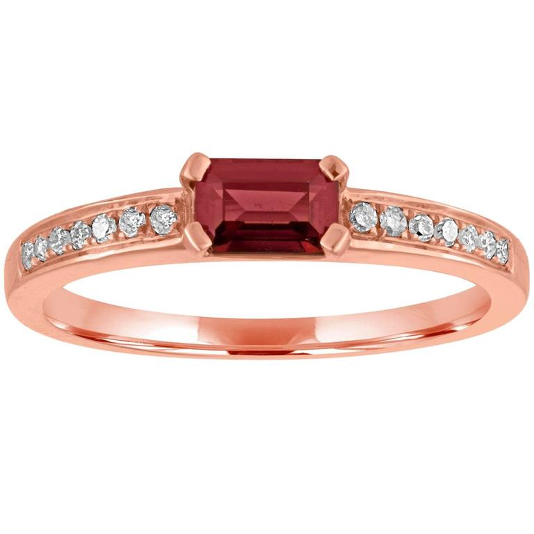 Stackable 0.58 Carat Garnet Baguette and Diamond Gold Ring