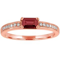 Stackable Garnet Baguette and Diamond Gold Ring